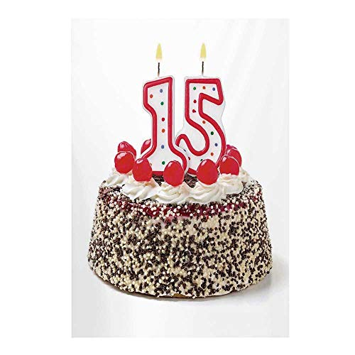 15th Birthday Decorations Stylish Backdrop,Chocolate Cherry Cake with Number Candles Surpise Party Theme for Photography,39