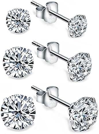 3 Pair 925 Sterling Silver Round Cut Simulation Diamond CZ Stud Earrings Set