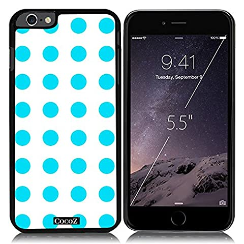 New Apple iPhone 6 s Plus 5.5-inch CocoZ® Case Beautiful lovely wave point designs PC (Sky Blue point & Black PC (Blackberry Q 10 Phone Cases)
