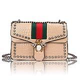 Beatfull Designer Shoulder Bag for Women, Fashion Bee Handbags Crossbody Bag with Chain (beige)