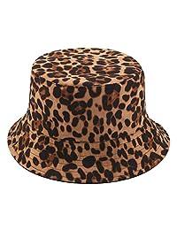 Joylife Leopard Print Bucket HatLepord Print Bucket Hat Trendy Animal Pattern Fisherman Hats for Women Reversible Packable Cap (Brown)