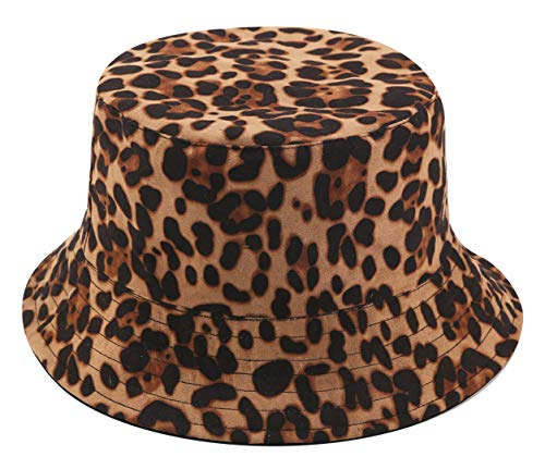 - Leopard Print Bucket HatLepord Print Bucket Hat Trendy Animal Pattern Fisherman Hats for Women Reversible Packable Cap (Brown)