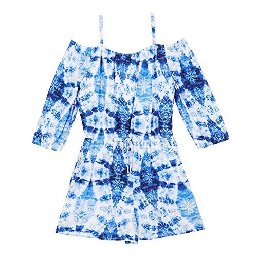 Amy Byer Big Girls' Off The Shoulder Romper, Cobalt Tie Dye Navy Paisley, L by Amy Byer