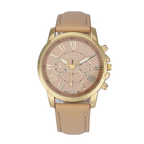 Tenworld Women Lady Girl Gift Analog Quartz Faux Leather Wrist Watch (Beige ) (50s Makeup And Hair)