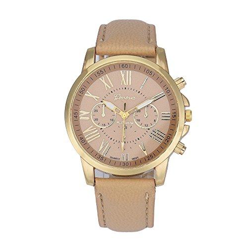 Tenworld Women Lady Girl Gift Analog Quartz Faux Leather Wrist Watch (Beige )