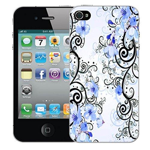 Mobile Case Mate iPhone 4s Concepteur Dur IMD coque Affaire Couverture Case Cover Pare-chocs Coquille - Blue Cluster Flowers Modèle