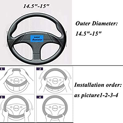 Soft Blue Flax Breathable Anti Skid Better Grip Universal 15 inch for Women Men Car Steering Wheel Cover