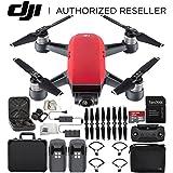 DJI Spark Portable Mini Drone Quadcopter Fly More Combo Black Aluminum Hardshell Case Bundle (Lava Red)