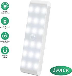 LED Closet Light,18-LED Dimmer USB Rechargeable Motion Sensor Closet Light Under Cabinet Wireless Stick-Anywhere Night Light Bar with 600mAh Battery for Stairs,Wardrobe,Kitchen,Hallway (1 Pack)