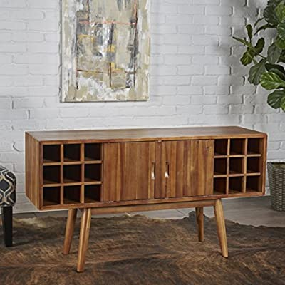 Mid Century Modern Light Oak Wood Wine Cabinet