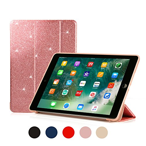 Ruban Case for Apple iPad (9.7-inch, 2018/2017 Model) - Ultra Slim Lightweight Smart Shell Standing Cover with Auto Wake/Sleep Feature, Pink Glitter