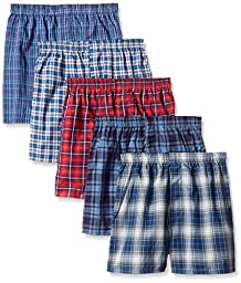 Fruit of the Loom Big Boys\' Tartan Boxer , Assorted, Small (Pack of 5)
