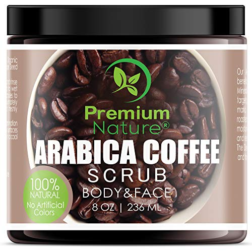 Exfoliating Arabica Coffee Body Scrub  Best Skin Exfoliator for Face Hand Lip amp Body with Sea Salt amp Shea Butter Acne amp Eczema Treatment Exfoliate Moisturize Stretch Mark Scar amp Cellulite Remover