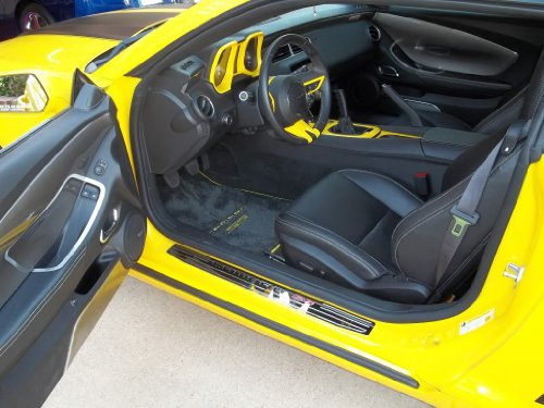 Chevrolet Camaro SS Floor Mats Dual Rally Yellow Logos with Yellow Binding 2010 2011 2012 High-End (Rally Yellow Camaro compare prices)