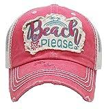 KB JP Vintage Distress Beach Please Star Fish Palm Tree Vented Trucker Mesh Hat Cap (Pink Red)