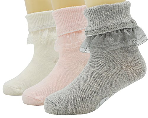 Price comparison product image Bienvenu Baby Girls' Girls 0-3 Ruffle Turn Cuff 3 Pair Pack Socks,S