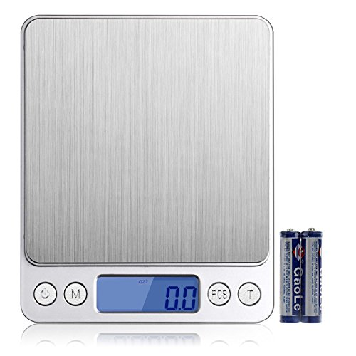 HEYFIT 0.01oz/0.1g 3000g Digital Gram Food Scale Pocket Sized Multifunction Stainless Steel with Precision Measuring LCD Backlit Display for Kitchen (0.1g Digital Pocket Scales)