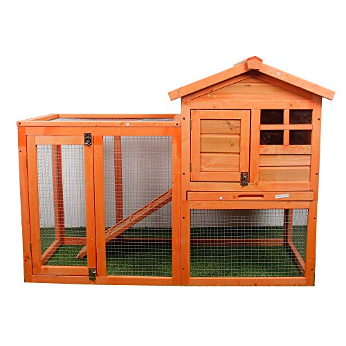 (Purlove Rabbit Hutch Wood House Pet Cage for Small Animals Chicken Coop Wooden Rabbit Hutch Outdoor Garden Backyard Hen House Wood Pet House Poultry Cage)