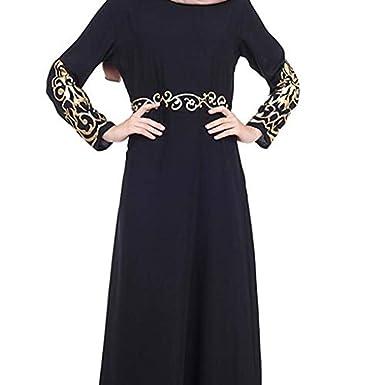 Vovotrade Vestido musulmán Chic Mujeres Kaftan Abaya Slim Vestidos ...