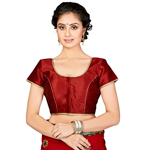 TrendyFashionMall Readymade Gold Border Saree Blouse Tofa Maroon-Med(40)