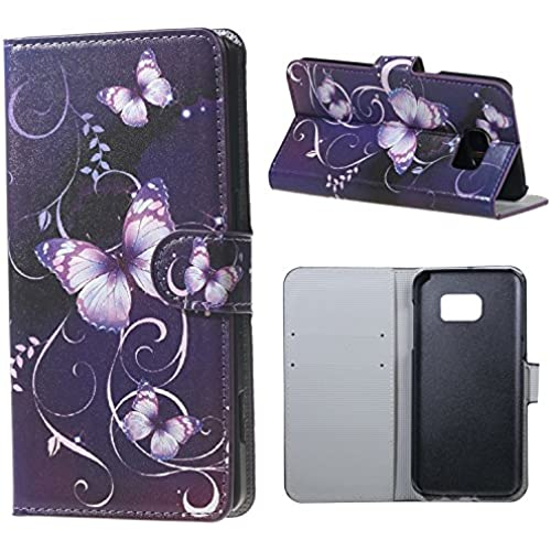 Yakamoz Purple Butterfly Floral Flip Leather Wallet Stand Case Cover for Samsung Galaxy S7 Edge G935F with Free Screen Protector & Stylus Pen Sales