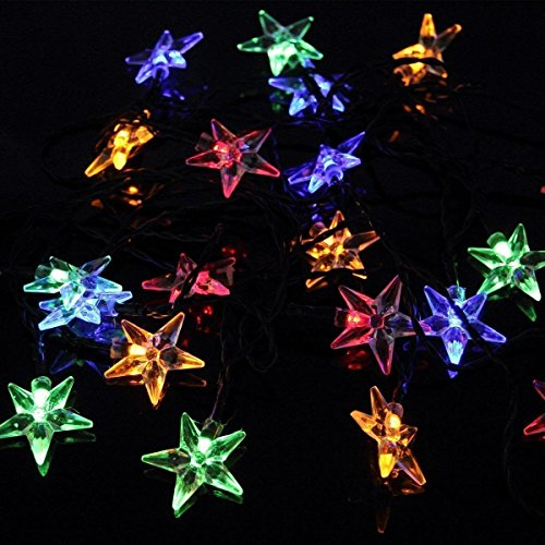 Easyinsmile Solar Waterproof 20 Star LED String Lights for Outdoor Garden and Chrismas Tree Decoration