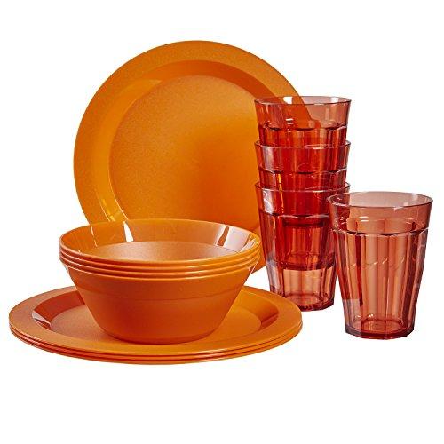 (Cambridge Plastic Plate, Bowl and Tumbler Dinnerware   12-piece set Orange)