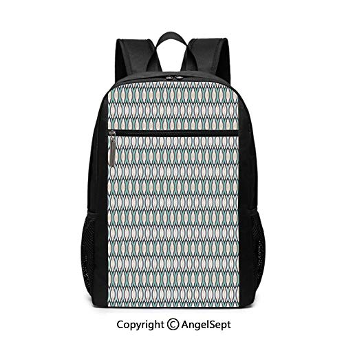 Large Capacity School Backpack,Abstract Folkart Tile Pattern Home Cafe Interior Decoration Kitchenware Print,Turquoise Black Cream,6.5