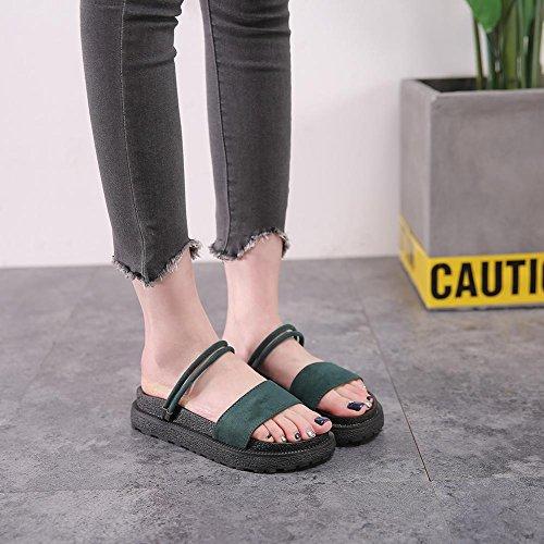 Green Zapatilla Zapatos Peep Tacón Creativa Cinta Para F Confort KJJDE Sandalias Caminar 06 Toe HAH Chanclas Mujer aEnBRqwT