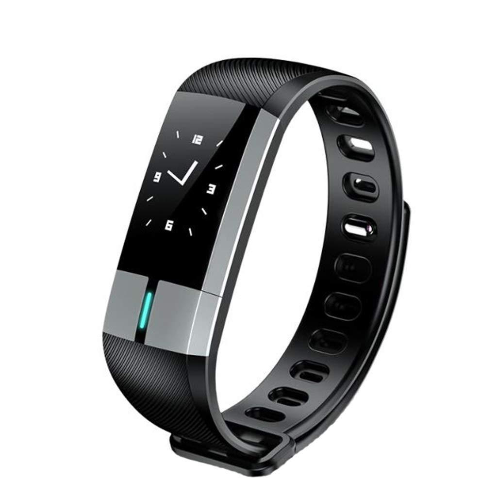 Qiyi Smart Bracelet, Personalized Silicone Comfortable Sports Wristband Smart Bracelet, Fitness Tracking Monitoring Heart Rate Activity Smart Bracelet (Color : Black)