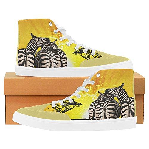 InterestPrint Zebra Africa Landscape High Top Shoes for Women by InterestPrint