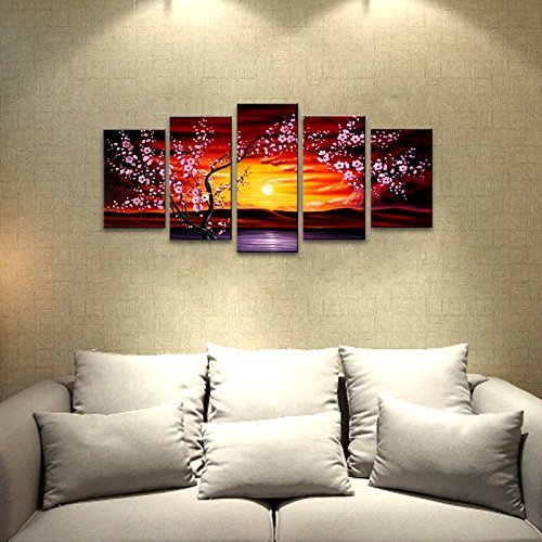 Amazon.com: Wieco Art 5 Panels Plum Tree Blossom Modern Giclee ...