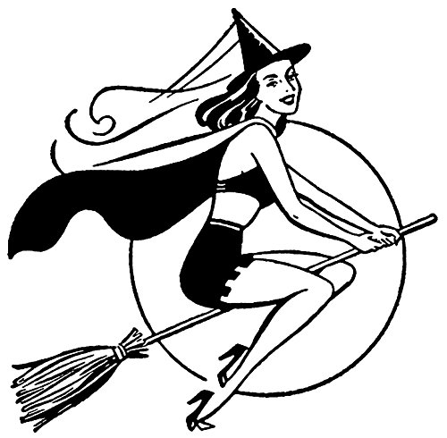 Sexy Witch Tattoo (Sexy Retro Witch Set of 4 Temporary Tattoos (Waterproof Lasts 3 to 4 days))