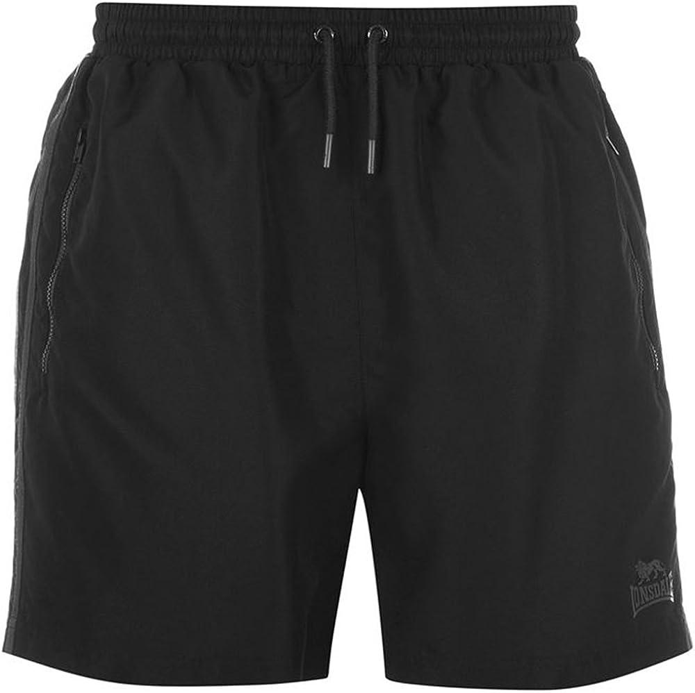 Lonsdale Pantalones Cortos de Entrenamiento para Hombre, Dos Rayas, Interior de Malla, Tejido