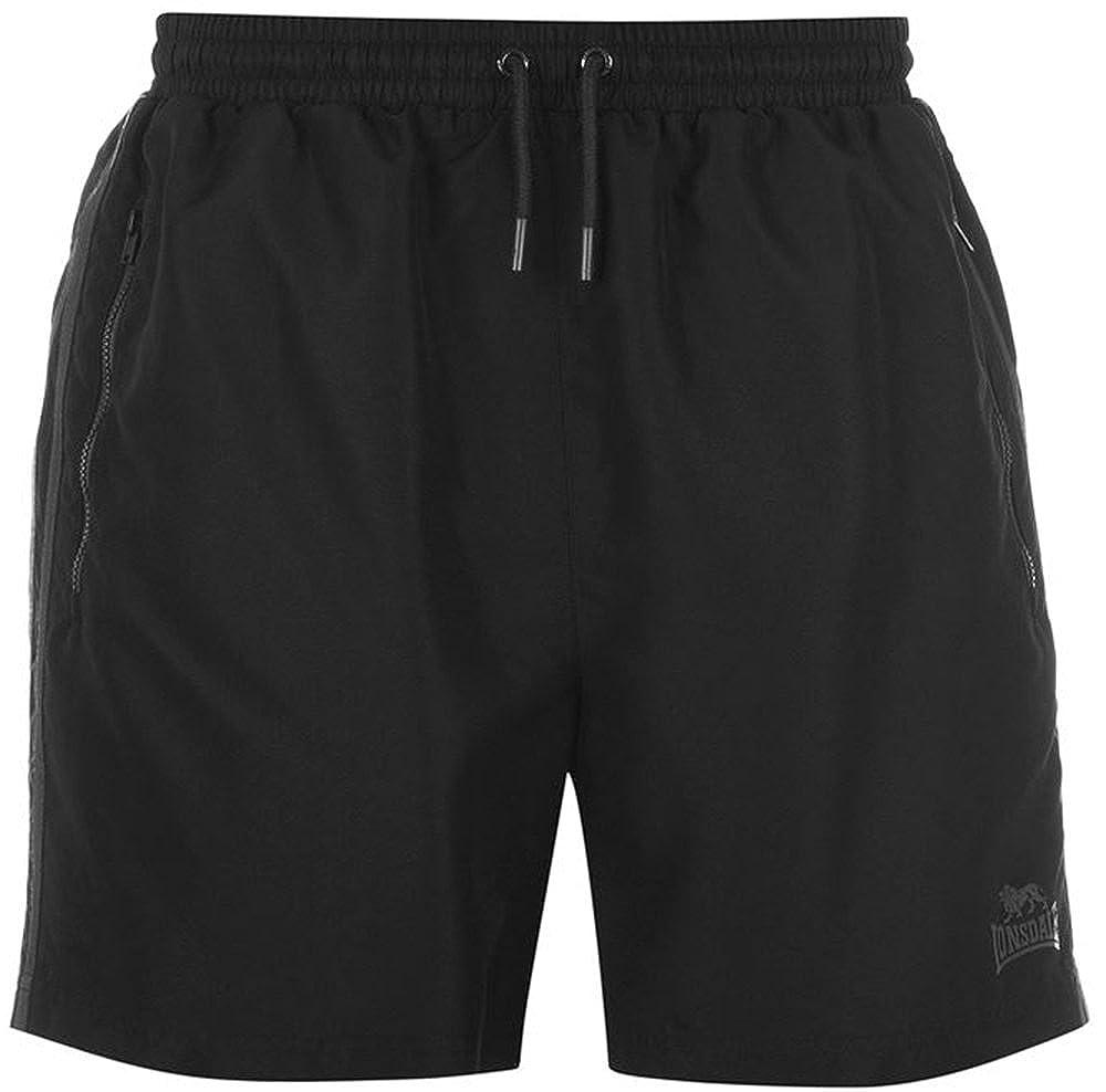 TALLA M (32''/34''). Lonsdale Hombre 2Rayas Tejida Pantalones Cortos Entrenamiento Pantalones Cortos para cordón