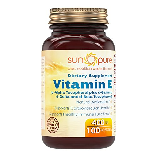400 Iu 100 Softgel Capsules - Sun Pure Premium Quality Vitamin E (Mixed Tocopherols) 400 IU 100 Softgels Glass Bottle *Supports Cardiovascular health *Supports Healthy Immune Function