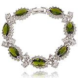 EVER FAITH Women's CZ Austrian Crystal 7 Marquise-shape Flower Tennis Bracelet Silver-Tone
