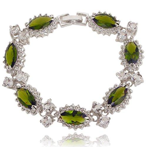 EVER FAITH Womens CZ Austrian Crystal 7 Marquise-Shape Flower Tennis Bracelet Silver-Tone