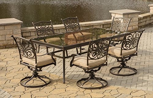 Hanover TRADDN7PCSWG Traditions 7Piece Dining Set in Tan with Extra Large Glass-Top Dining Table