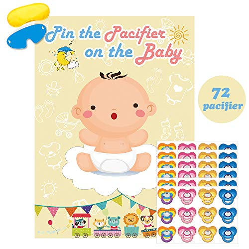 Pin The Pacifier On The Baby Game Large Baby Poster Games For Baby Shower Party Birthday Party Supplies- Pin The Dummy On The Baby -