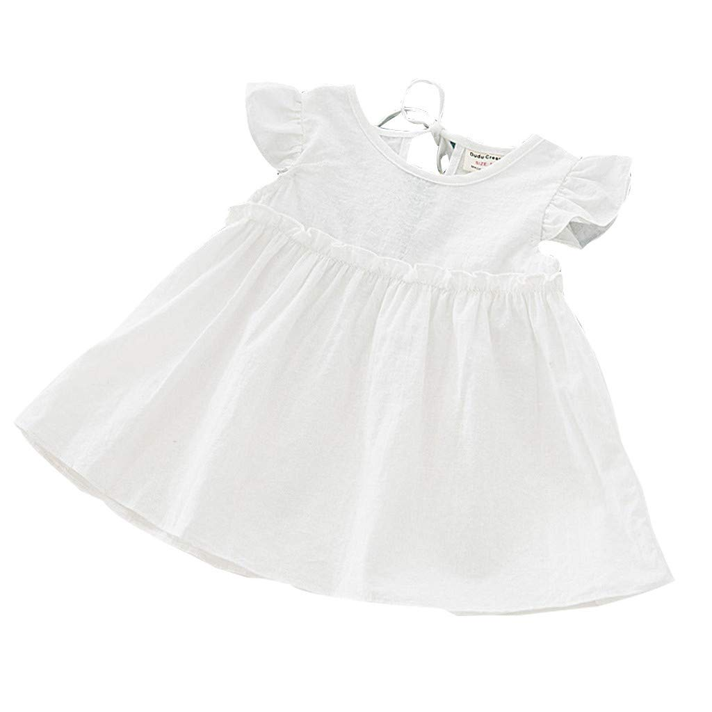 Toddler Kids Baby Girls Ruffle Linen Dress Elegant Princess Party Dresses Summer (White, 120)