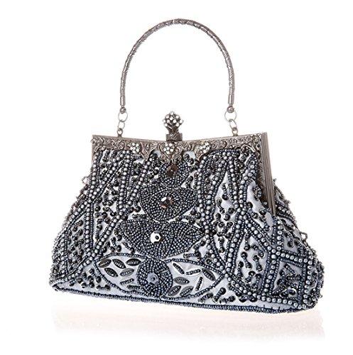 Whoinshop, borsa da donna con motivo di foglie con perline, borsetta nozze, sera Oro (Grigio)