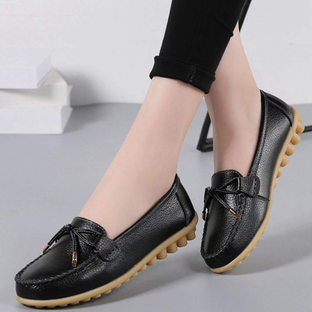SUNROLAN Womens Slip-on Sneaker Comfort Fashion Leather Driving Loafers Casual Walking Shoes Black 39