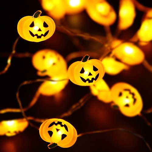 Halloween Lights, 40 LED Pumpkin String Lights for Indoor, Halloween Christmas Decorations, Battery Operated