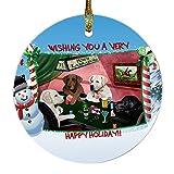 Home of Labrador Retrievers 4 Dogs Playing Poker Photo Round Christmas Ornament