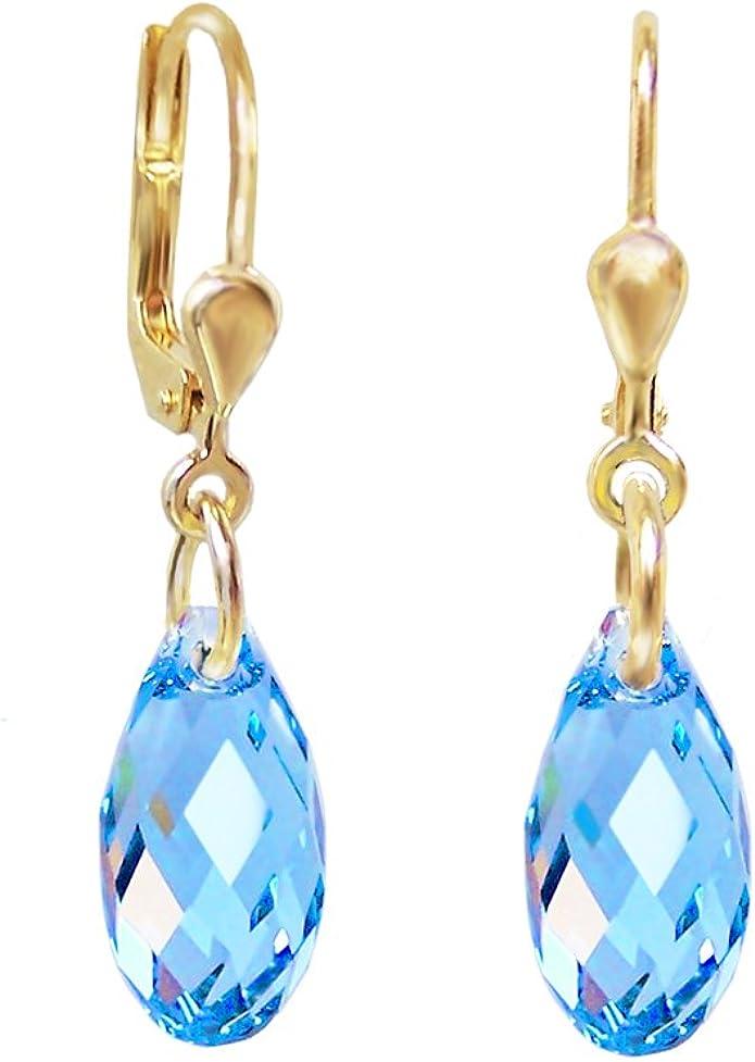 Brillant Goutte d/'eau Multicolore autrichien cristal pendantes bleu vert Boucles d/'oreilles