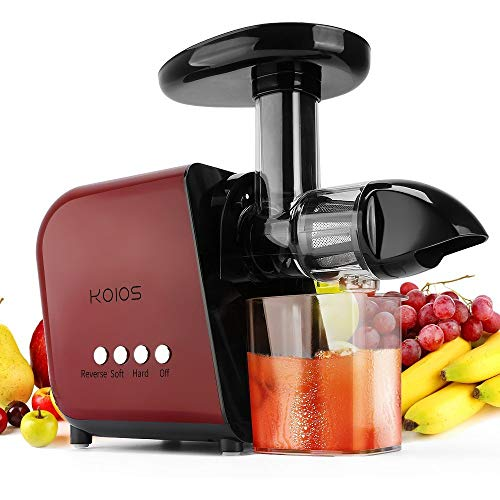 KOIOS Juicer, Slow Masticating Juicer Extractor with Reverse Function, Cold Press Juicer Machine with Quiet Motor, Juice Jug and Brush for High Nutrie (Red-Black) (Best Vegetable Juicer 2019)