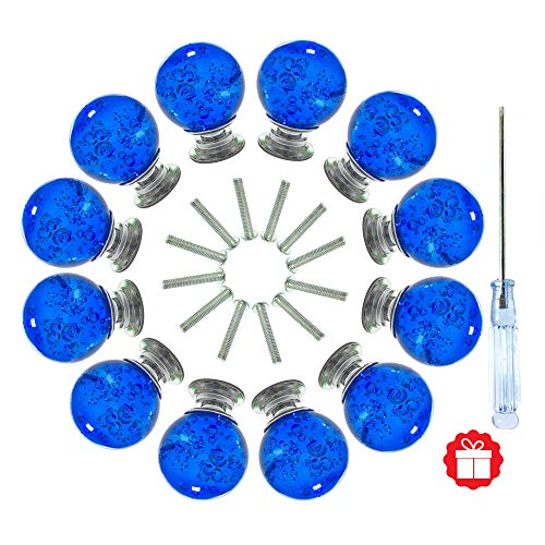 Blue Long Knob - ANJUU 12 Pcs 30mm Round Shape Bubble Crystal Glass Cabinet Knobs with Screws Drawer Knob Pull Handle Used for Kitchen, Dresser, Door, Cupboard (Blue)