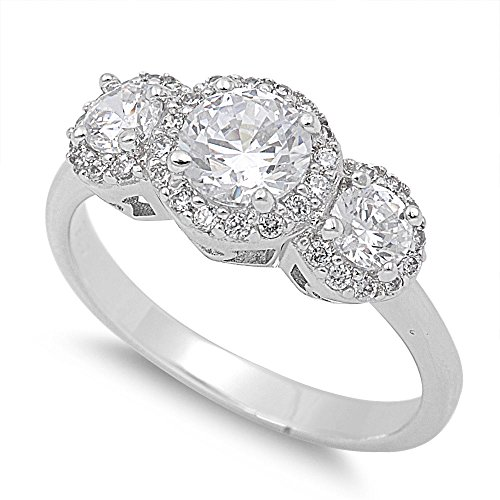 CloseoutWarehouse Round Prong Cubic Zirconia Three Stone Halo Ring Sterling Silver Size (Cubic Zirconia Three Prong)