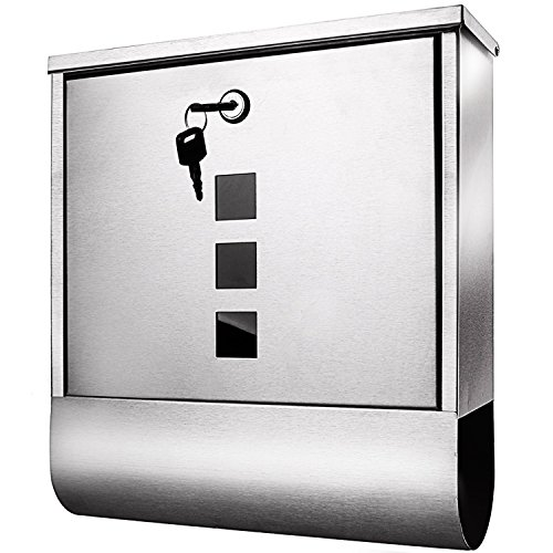 Post Box Office Door (Meditool Stainless Steel Wall Mounted Mailbox Lockable Letterbox Post Box with Retrieval Door & Newspaper Roll,Vertical Locking Drop Mail Box for Modern Houses Front Porch Residential Outdoor)